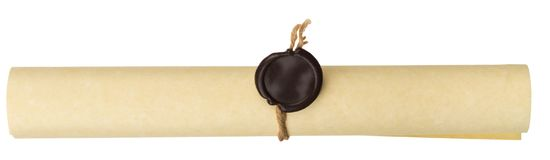 Ancient scroll with wax seal. On white Royalty Free Stock Image