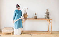Ancient scrolls-The artistic conception of Zen tea Stock Photography