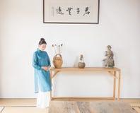 Ancient scrolls-The artistic conception of Zen tea Stock Photo