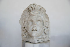 Ancient sculpture of Aphrodite head in the baths of Diocletian Thermae Diocletiani in Rome. Italy royalty free stock photography