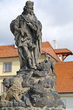 Ancient sculpture on the Charles Bridge. Prague. Saint Vitus Stock Photos