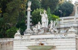 Ancient Fontana del Nettuno in Rome, Italy. Ancient sculpture Fontana del Nettuno. Fountain on the Piazza del Popolo square, old city center of Rome, Italy royalty free stock photos