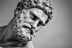 Ancient sculpture of Hercules and Nessus. Florence, Italy. Head close-up Royalty Free Stock Photos