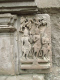 Ancient sculpture. Its photo of ancient sculpture on the wall of aishwareshwar temple in India royalty free stock image