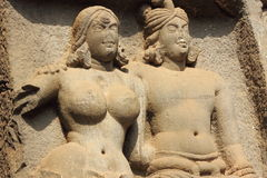 Ancient sculpture in Karla caves Royalty Free Stock Image