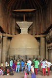 Ancient sculpture in Karla caves Royalty Free Stock Photos