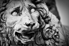 Ancient sculpture of The Medici Lion. Florence, Italy. Ancient style sculpture of The Medici lion in Loggia dei Lanzi in Florence, Italy. Black and white stock photos