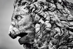 Ancient sculpture of The Medici Lion. Florence, Italy. Ancient style sculpture of The Medici lion in Loggia dei Lanzi in Florence, Italy. Black and white stock photo