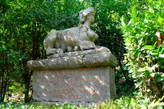 Free Ancient Sculpture, Sphinx, At The Famous Parco Dei Mostri, Also Called Sacro Bosco Or Giardini Di Bomarzo. Monsters Park Royalty Free Stock Image - 120129616