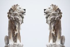 Ancient Sculpture of White sitting Coade stone Lion isolated on white backgrounds, clad strong statue, leadership symbol monument. Backgrounds royalty free stock photo