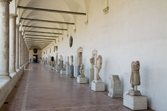 Ancient sculptures in the baths of Diocletian Thermae Diocletiani in Rome Royalty Free Stock Photography