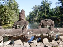 Ancient Sculptures at a Bridges in Angkor Wat / Cambodia Royalty Free Stock Images
