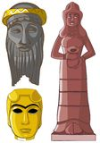 Ancient sculptures and mask. Stock Photo