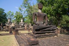 Ancient sculptures on the ruins of a Buddhist temple Wat Phra Kaeo. Kampaeng Phet, Thailand Stock Photo
