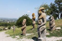 Ancient sculptures. Ancient stone sculptures on cretaceous rocks in Izjum town Stock Image