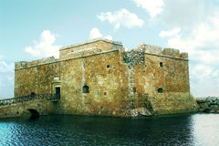 Ancient Sea Castle at Paphos town in Cyprus stock photography