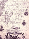 Ancient Sea Chart, Details Stock Photography