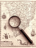 Ancient sea chart, magnifier stock images
