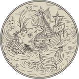 Ancient Sea Monster Attacking Sailing Ship Circle Drawing. Drawing sketch style illustration of an ancient sea monster attacking devouring a sailing ship in Stock Photo
