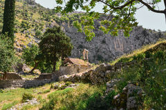 Ancient Serbian church. Ruins and mountain valley landscape near Kotor castle fortress wall in Montenegro Stock Photo