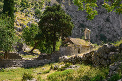 Ancient Serbian church. Ruins and mountain valley landscape near Kotor castle fortress wall in Montenegro Stock Photography