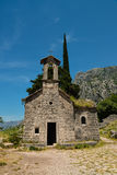 Ancient Serbian church. Ruins and mountain valley landscape near Kotor castle fortress wall in Montenegro Stock Photos