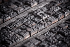 Ancient set of Chinese letter cases. Collection of old Chinese wooden typescript letters Stock Photography