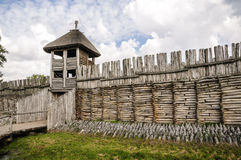 Ancient settlement in Biskupin. Palisade and entrance in Biskupin settlement Stock Photos