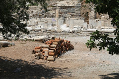 Ancient Sewerage Pipes in Ephesus Ancient City Royalty Free Stock Photography