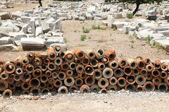 Ancient Sewerage Pipes in Ephesus Ancient City Stock Photo