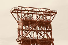Ancient shaft tower Stock Images