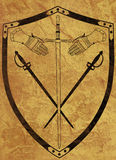 Ancient Shield of Arms on Brown Crackled Surface Royalty Free Stock Photos