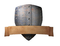 Ancient shield with banner royalty free stock photos