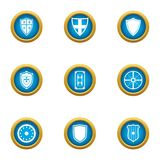 Ancient shield icons set, flat style. Ancient shield icons set. Flat set of 9 ancient shield vector icons for web isolated on white background vector illustration
