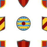 Ancient shields pattern. Heraldic shields in flat style. Royalty Free Stock Photos
