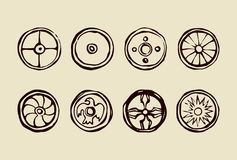Ancient shields of Vikings. Vector drawing Stock Image
