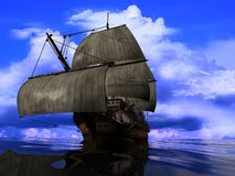 The ancient ship. In the sea stock illustration