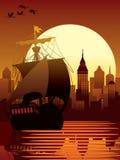 Ancient ship. Vector illustration of modern city and ancient ship sailing Stock Photography