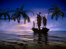 The ancient ship. In the sea Stock Images