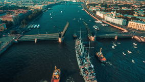 Ancient Ship Aurora Is Tugging Along Neva River stock video footage