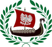 Ancient ship and laurel wreath Stock Photography