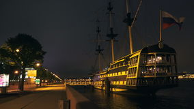 Ancient ship in St. Petersburg. Night. 4K. stock video