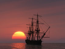 Ancient ship at sunset Royalty Free Stock Photography