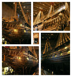 Ancient Ship Vasa - collage. The ancient warship in the Vasa Museum of Stockholm, Sweden Royalty Free Stock Photos