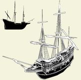The Ancient Ship Vector 04. The Ancient Ship Isolated Illustration Vector Stock Image