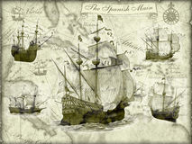 Ancient ships stock illustration