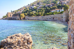 Ancient shipyard near of Kizil Kule tower in Alanya peninsula Royalty Free Stock Image