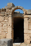 Ancient shop entrance in ruins. The ruins of an entrance to a former shop in ancient Korinth, Greece stock photos