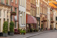 Ancient shopping street in the historical center of the Dutch ci Stock Photography