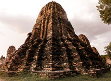 Ancient shrine. Historic 600 years old ruins temple of Ayutthaya Stock Photo